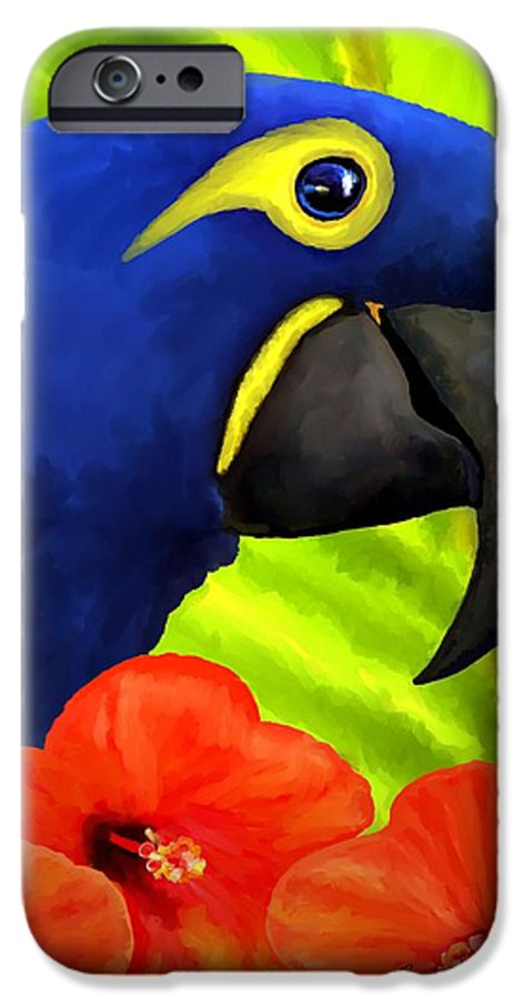 Hyacinth Macaw IPhone 6 Case featuring the painting Mimi by David Wagner