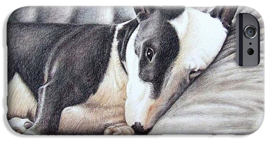 Dog IPhone 6 Case featuring the drawing Mini Bulldog Terrier by Nicole Zeug