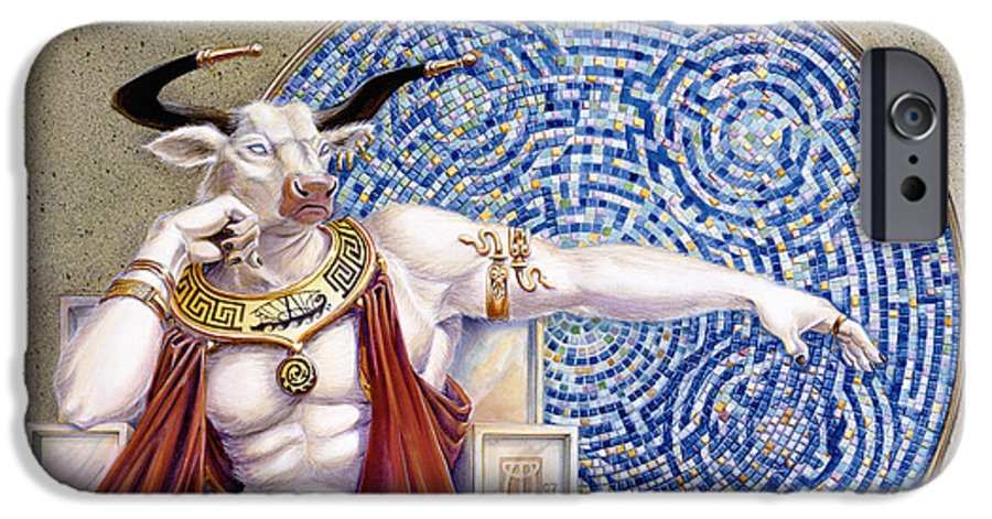 Anthropomorphic IPhone 6 Case featuring the painting Minotaur With Mosaic by Melissa A Benson