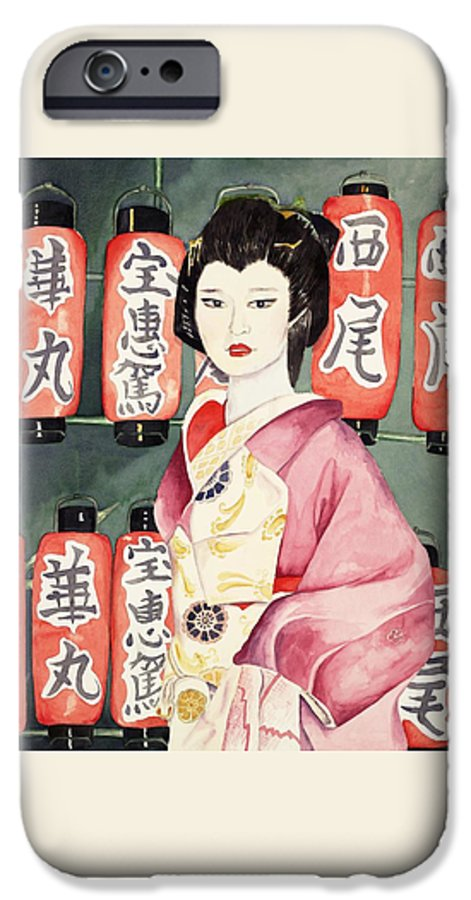 Geisha In Kimono With Red Lanterns IPhone 6 Case featuring the painting Miss Hanamaru At Osaka Festival by Judy Swerlick