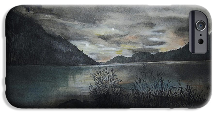 Sunset IPhone 6 Case featuring the painting Missezula Lake Sunset by Susan Moore