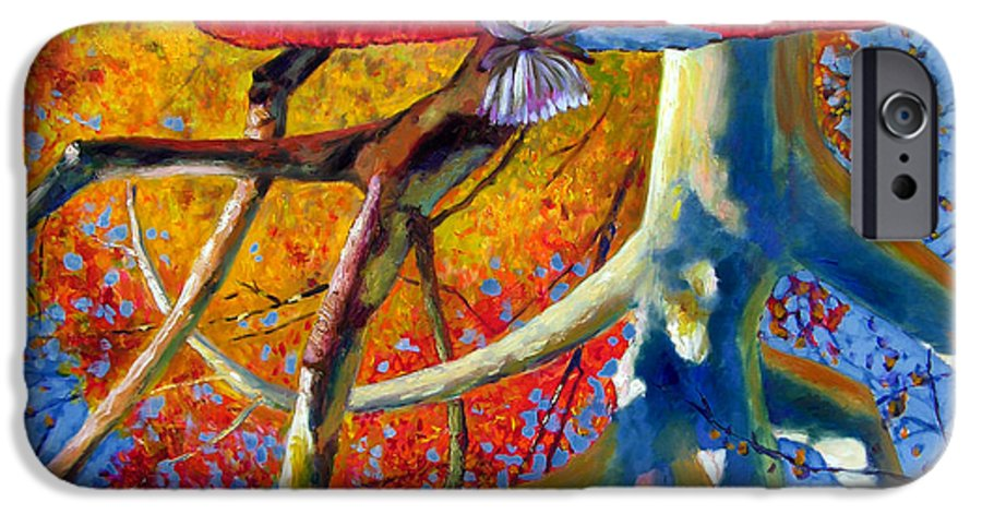 Garden Pond IPhone 6 Case featuring the painting Missouri Sycamore Reflections by John Lautermilch