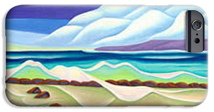 Landscape IPhone 6 Case featuring the painting Moana Kai Surf by Lynn Soehner