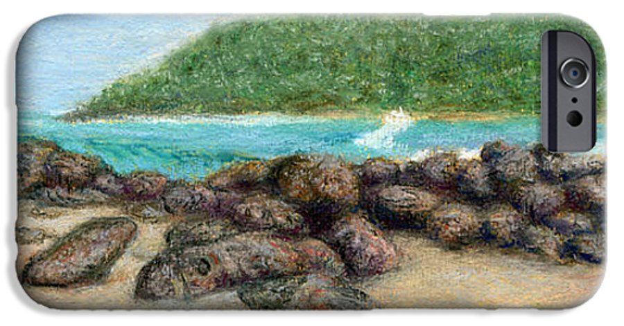 Coastal Decor IPhone 6 Case featuring the painting Moloa'a Rocks by Kenneth Grzesik