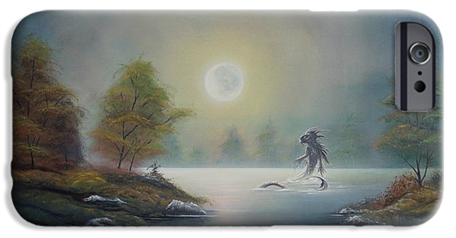 Landscape IPhone 6 Case featuring the painting Monstruo Ness by Angel Ortiz