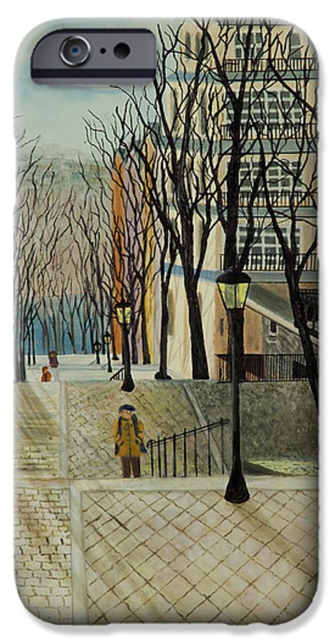 Paris IPhone 6 Case featuring the painting Montmartre Steps In Paris by Susan Kubes