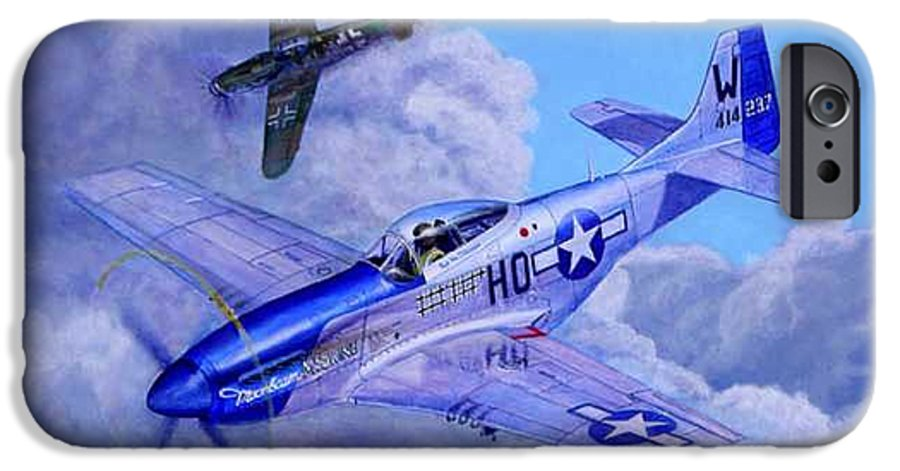 Capt Bill Wisner Shoots Down Two Bf-109s On November 2nd 1944 IPhone 6 Case featuring the painting Moonbeam Mcswine by Scott Robertson