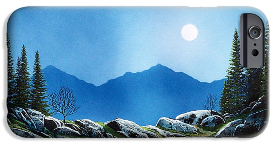 Landscape IPhone 6 Case featuring the painting Moonlight Hike by Frank Wilson