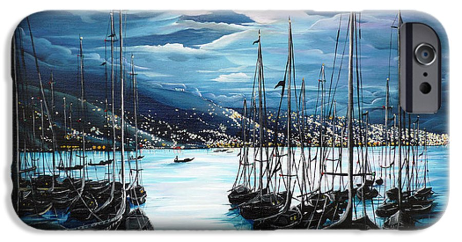 Ocean Painting  Caribbean Seascape Painting Moonlight Painting Yachts Painting Marina Moonlight Port Of Spain Trinidad And Tobago Painting Greeting Card Painting IPhone 6 Case featuring the painting Moonlight Over Port Of Spain by Karin Dawn Kelshall- Best