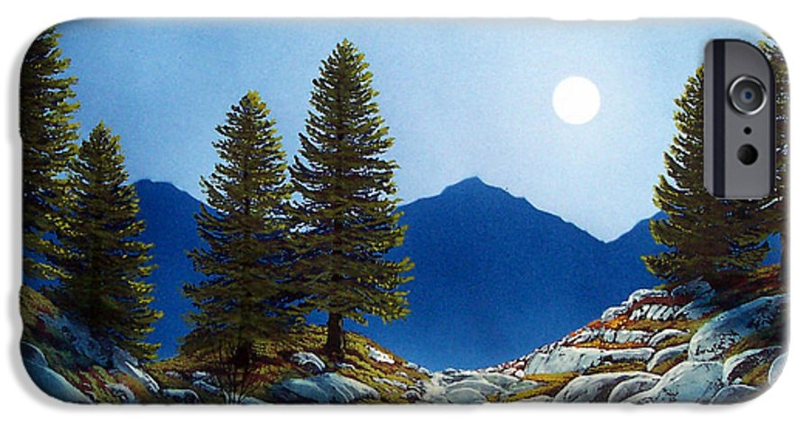 Landscape IPhone 6 Case featuring the painting Moonlit Trail by Frank Wilson