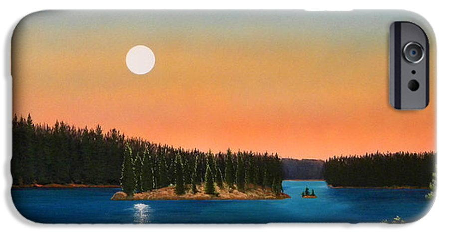 Landscape IPhone 6 Case featuring the painting Moonrise Over The Lake by Frank Wilson