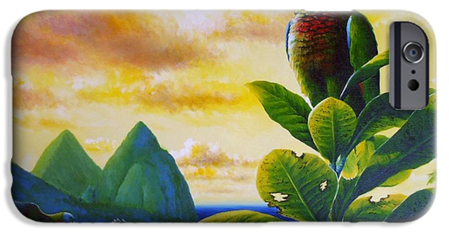 Chris Cox IPhone 6 Case featuring the painting Morning Glory - St. Lucia Parrots by Christopher Cox