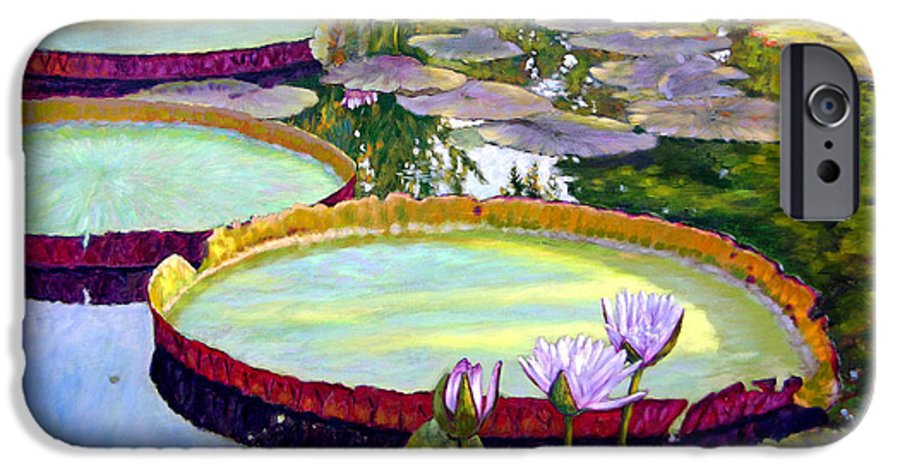 Garden Pond IPhone 6 Case featuring the painting Morning Highlights by John Lautermilch