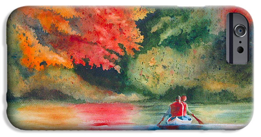 Lake IPhone 6 Case featuring the painting Morning On The Lake by Karen Stark