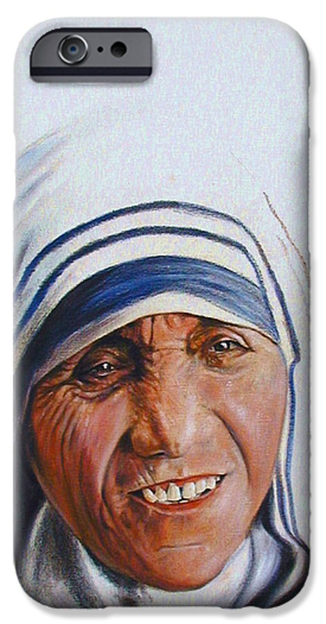 Mother Teresa IPhone 6 Case featuring the painting Mother Teresa by John Lautermilch