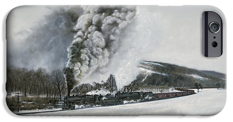 Trains IPhone 6 Case featuring the painting Mount Carmel Eruption by David Mittner