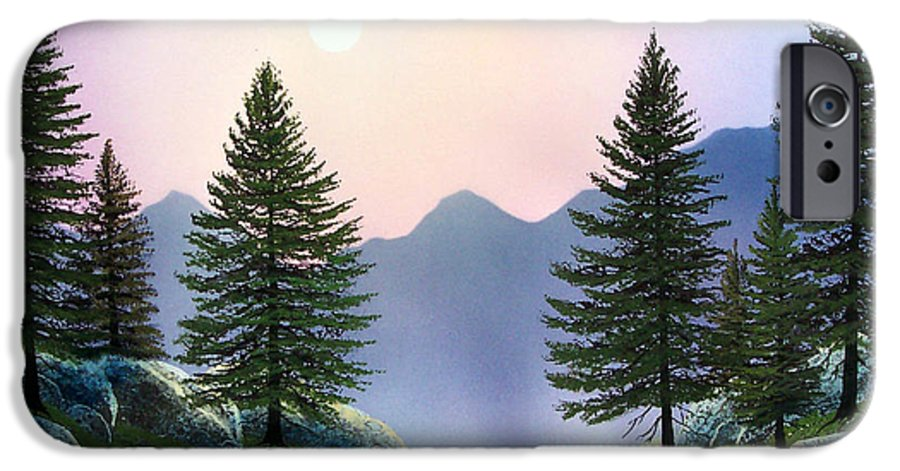 Landscape IPhone 6 Case featuring the painting Mountain Firs by Frank Wilson