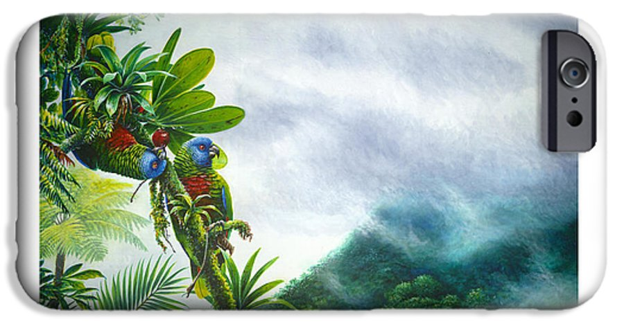 Chris Cox IPhone 6 Case featuring the painting Mountain High - St. Lucia Parrots by Christopher Cox