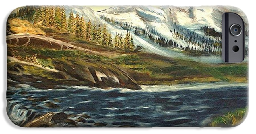 Landscape IPhone 6 Case featuring the painting Mountain River by Kenneth LePoidevin