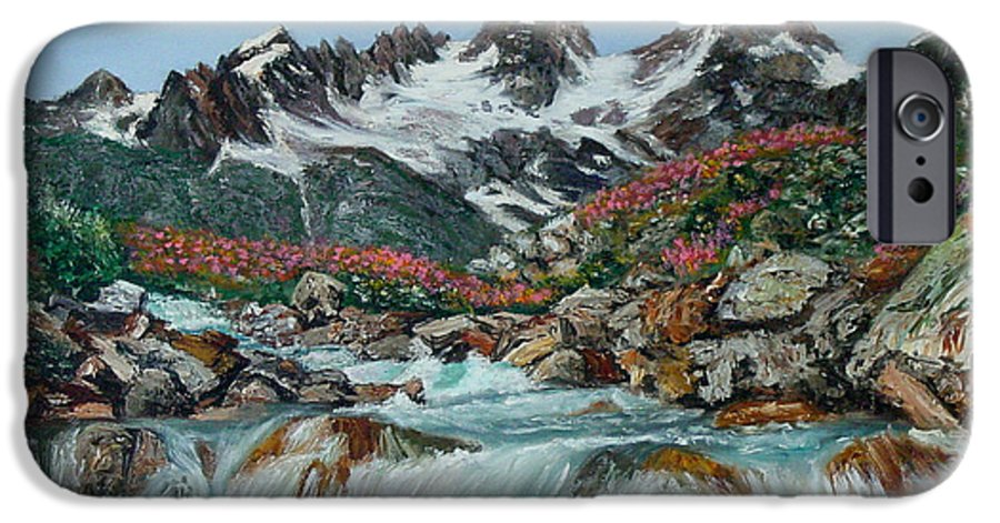 Mountain IPhone 6 Case featuring the painting Mountain Stream by Quwatha Valentine