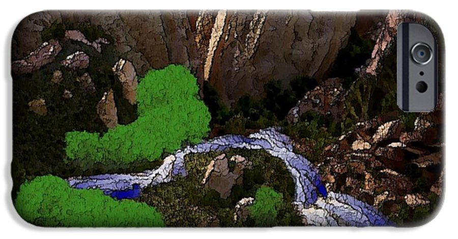 Stones.rocks.mountines.sky.cloud.bushes.river.water.flow. IPhone 6 Case featuring the digital art Mountine River by Dr Loifer Vladimir