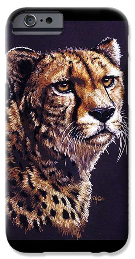 Cheetah IPhone 6 Case featuring the drawing Movin On by Barbara Keith