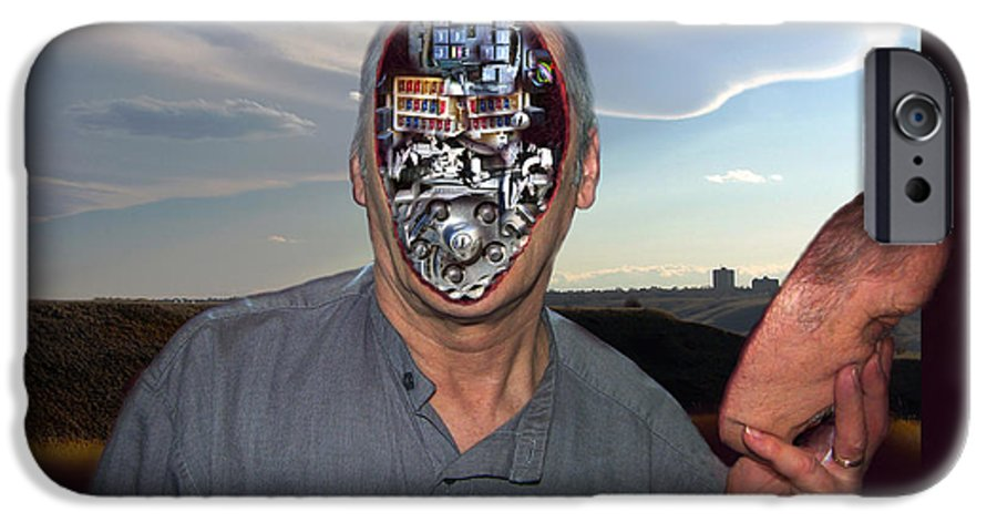 Surrealism IPhone 6 Case featuring the digital art Mr. Robot-otto by Otto Rapp
