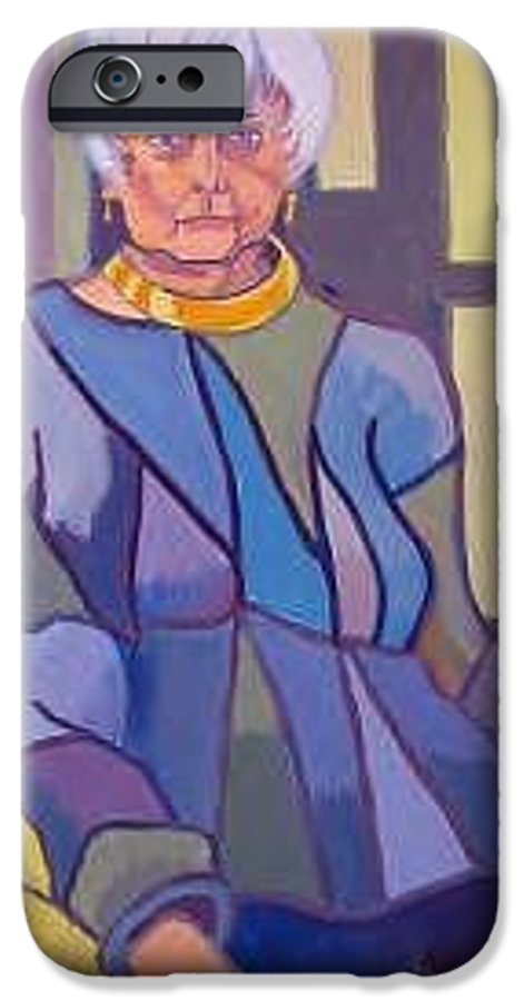 Mature Woman Sitting In A Chair IPhone 6 Case featuring the painting Mrs. Edith Lipton by Debra Bretton Robinson
