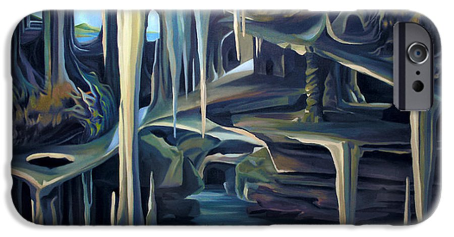 Mural IPhone 6 Case featuring the painting Mural Ice Monks In November by Nancy Griswold