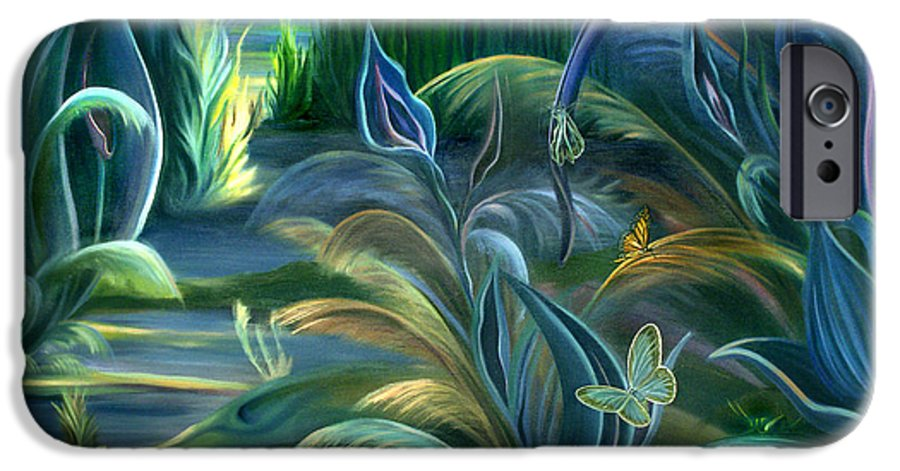 Mural IPhone 6 Case featuring the painting Mural Insects Of Enchanted Stream by Nancy Griswold