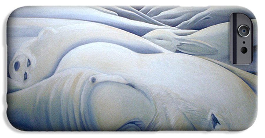 Mural IPhone 6 Case featuring the painting Mural Winters Embracing Crevice by Nancy Griswold