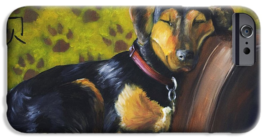 Dog IPhone 6 Case featuring the painting Murphy Vi Sleeping by Nik Helbig