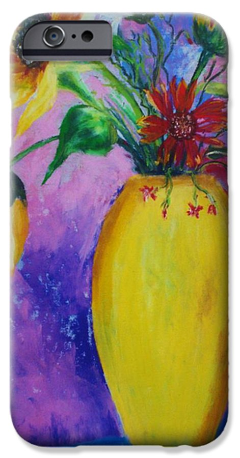 Sunflowers IPhone 6 Case featuring the painting My Flowers by Melinda Etzold
