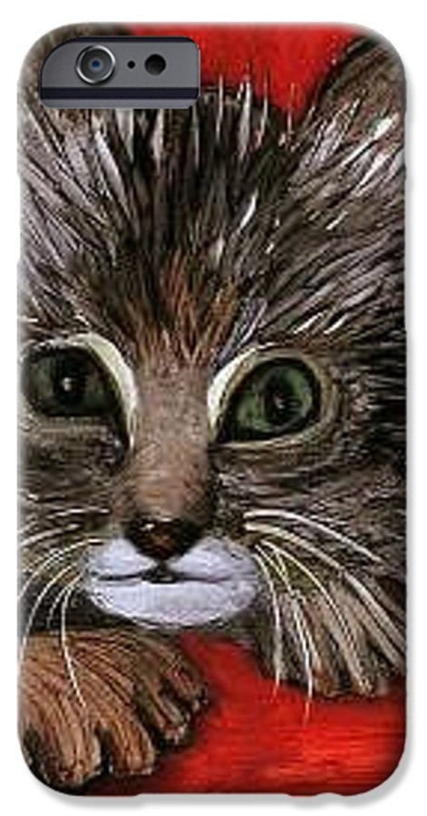 Very Curious And Beautiful Kittie Cat IPhone 6 Case featuring the painting My Kittie Cat by Pilar Martinez-Byrne