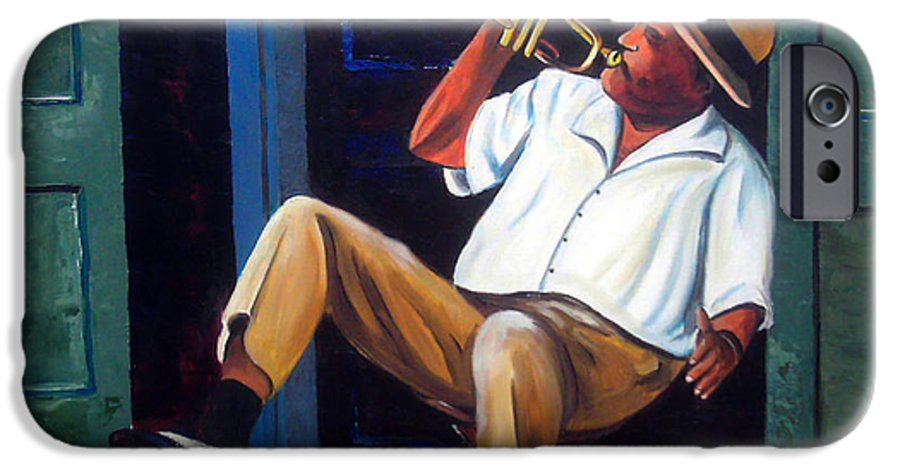 Cuba Art IPhone 6 Case featuring the painting My Trumpet by Jose Manuel Abraham