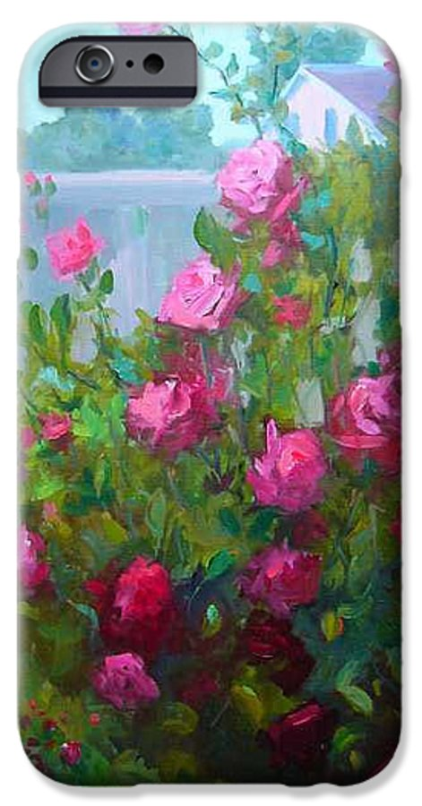 Climing Red Roses On Fence IPhone 6 Case featuring the painting Myback Yard Roses by Patricia Kness
