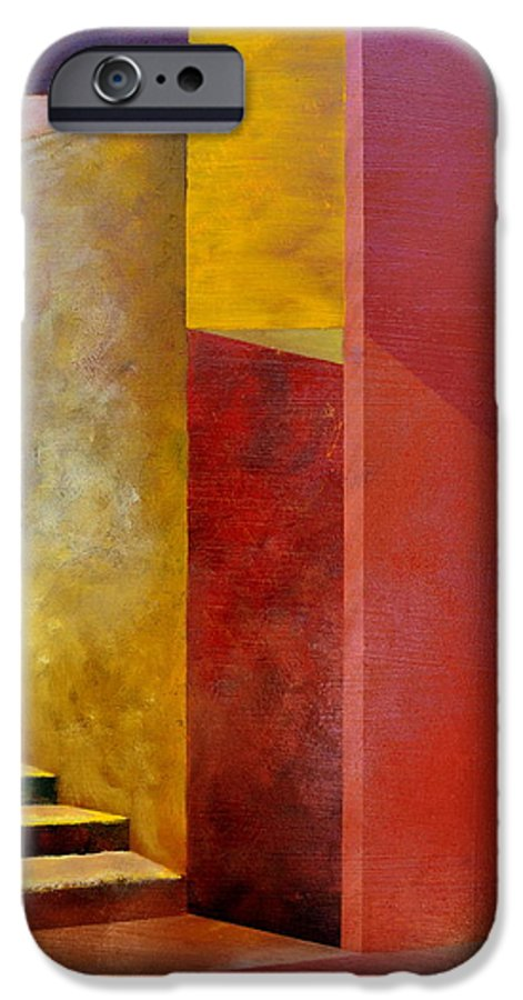 Gold IPhone 6 Case featuring the painting Mystery Stairway by Michelle Calkins