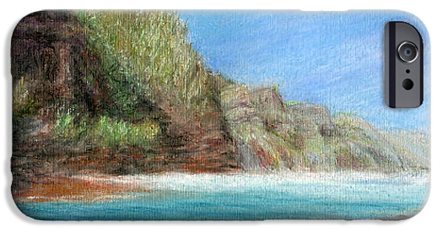 Rainbow Colors Pastel IPhone 6 Case featuring the painting Na Pali by Kenneth Grzesik