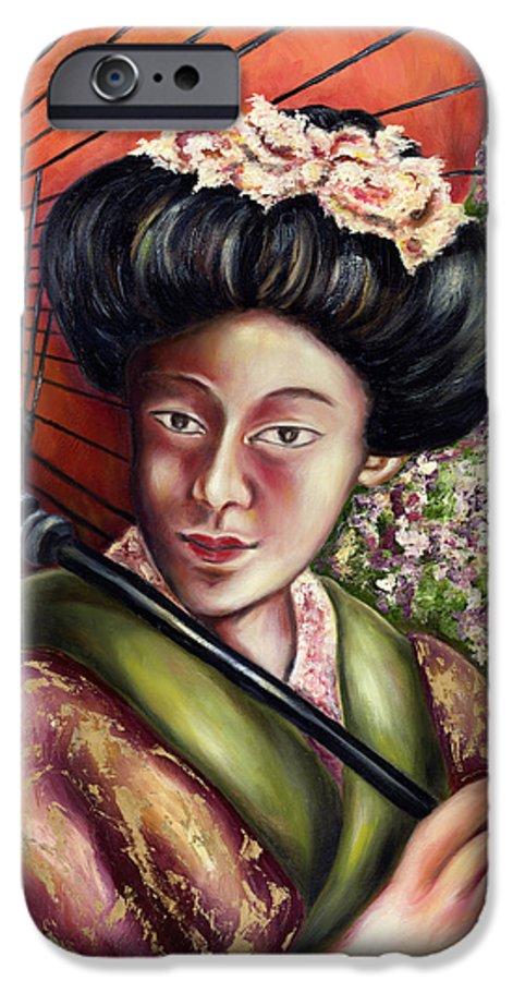 Japanese IPhone 6 Case featuring the painting Nadeshiko by Hiroko Sakai