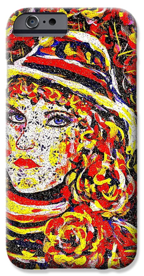 Woman IPhone 6 Case featuring the painting Nat With The Hat by Natalie Holland