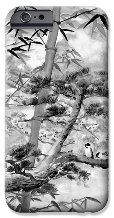 Black And White IPhone 6 Case featuring the painting Nature by Eileen Fong