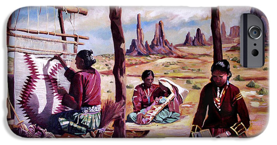 Native American IPhone 6 Case featuring the painting Navajo Weavers by Nancy Griswold