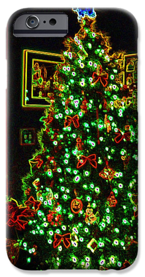 Christmas IPhone 6 Case featuring the photograph Neon Christmas Tree by Nancy Mueller