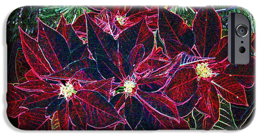 Flowers IPhone 6 Case featuring the photograph Neon Poinsettias by Nancy Mueller