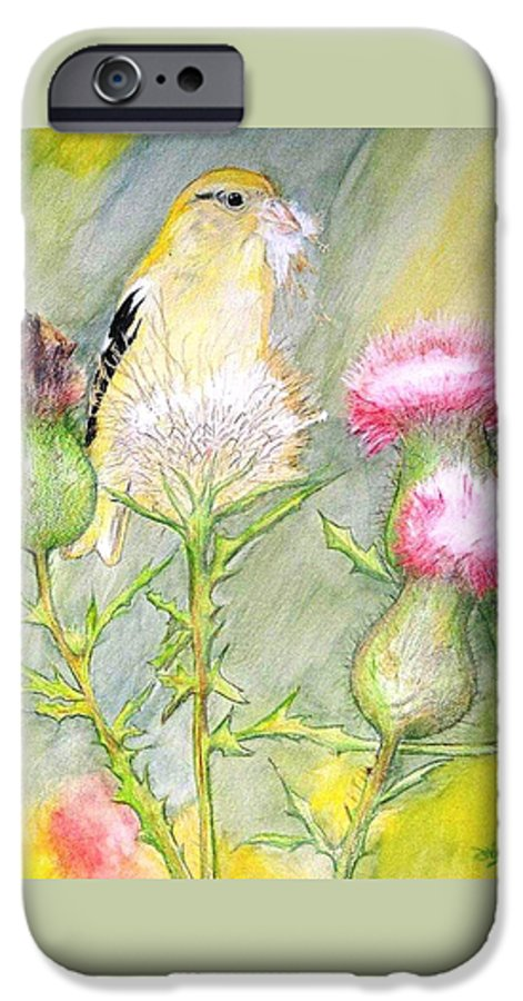 Goldfinch IPhone 6 Case featuring the painting Nest Fluff by Debra Sandstrom