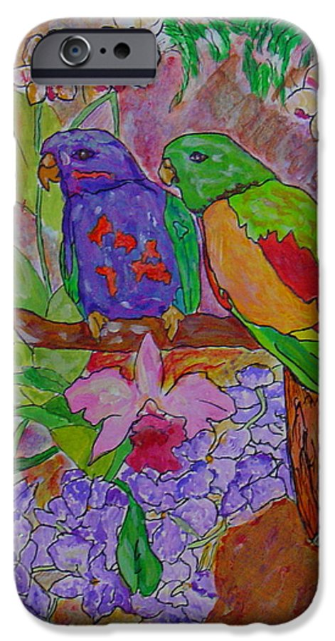 Tropical Pair Birds Parrots Original Illustration Leilaatkinson IPhone 6 Case featuring the painting Nesting by Leila Atkinson