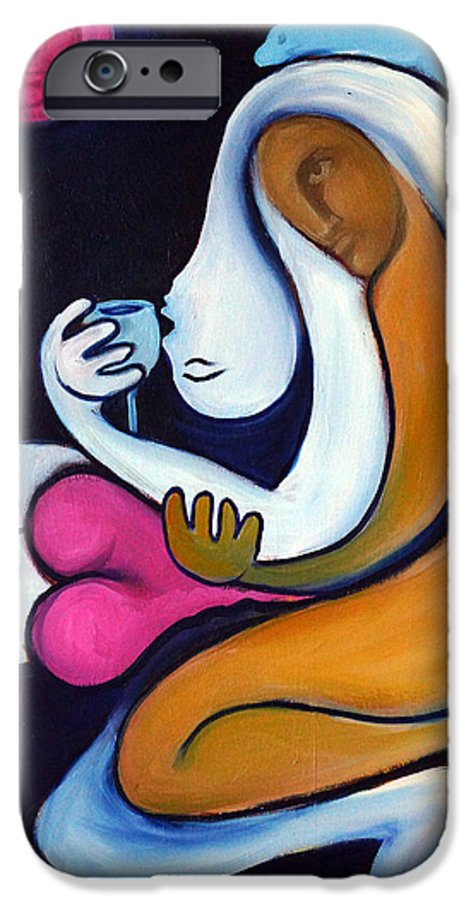 Abstract IPhone 6 Case featuring the painting Never Tear Us Apart by Valerie Vescovi