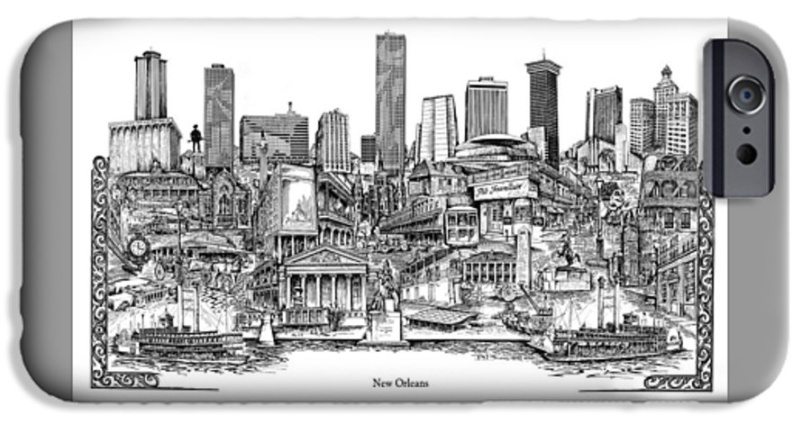 City Drawing IPhone 6 Case featuring the drawing New Orleans by Dennis Bivens