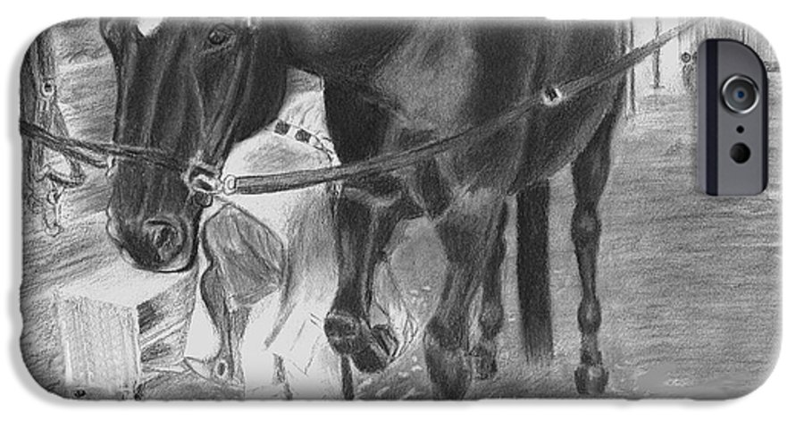 Horse IPhone 6 Case featuring the drawing New Shoes by Quwatha Valentine