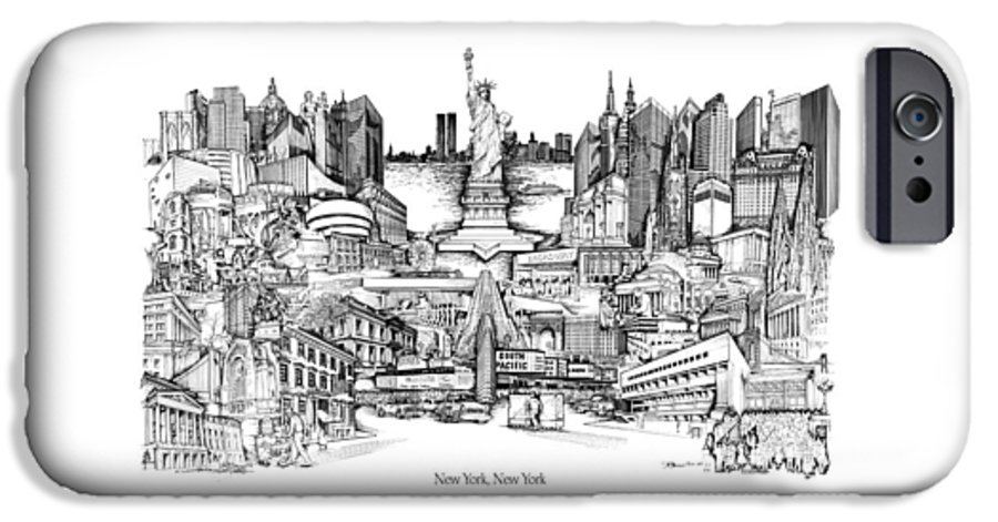City Drawing IPhone 6 Case featuring the drawing New York by Dennis Bivens